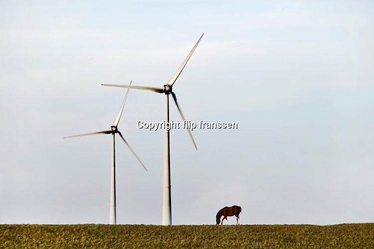 Nederland, Eemshaven, 14-5-2018 In het havengebied in noord groningen staan ruim 90 windturbines waarvan de meesten van RWE. Een paard graast op de dijk aan de waddenzee.Foto: ANP/ Hollandse Hoogte/ Flip Franssen