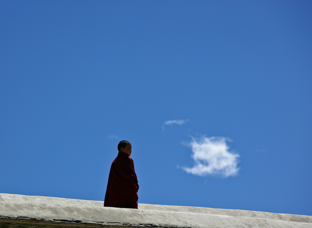 A young Buddhist monk. There has been a sharp decline in the number of Buddhist monk in Tibet (Sakya, Tibet).