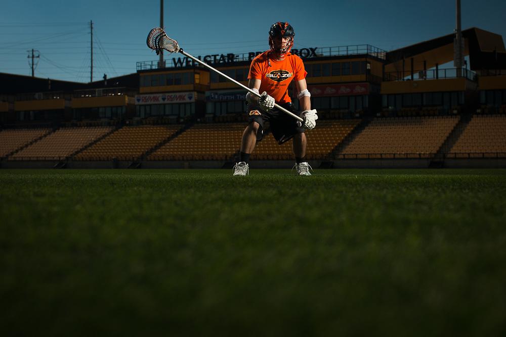 Portrait of Atlanta Blaze defenseman Scott Ratliff at Fifth Third Bank Stadium in Kennesaw, Ga. on Friday, Feb. 26, 2016. Photo by Kevin D. Liles for Lacrosse Magazine