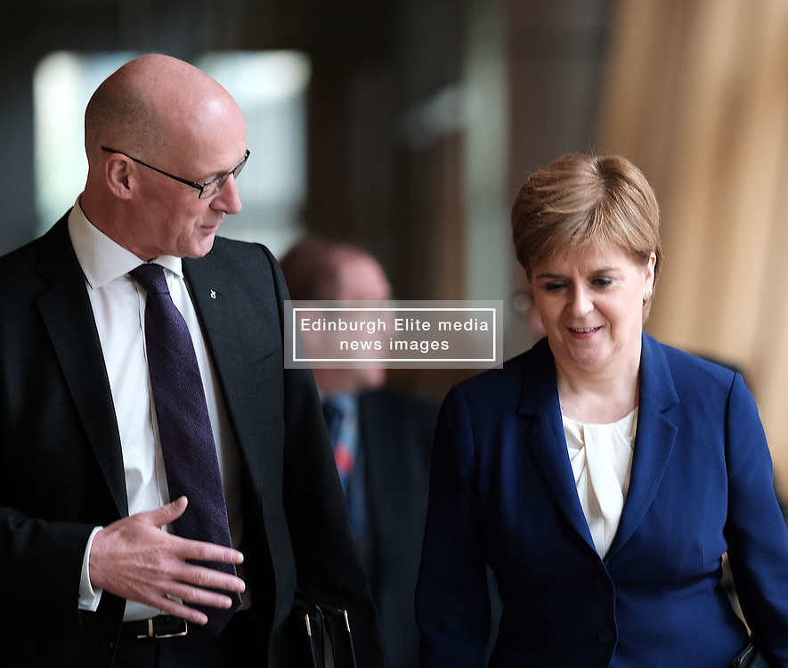 First Minister's Questions in the Scottish Parliament<br /> <br /> Thursday, 19th September 2019<br /> <br /> Pictured: John Swinney MSP and First Minister Nicola Sturgeon MSP<br /> <br /> Alex Todd | Edinburgh Elite media