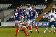 Jamie Hamilton (Hamilton Academical) tries to head the ball towards goal during the U17 European Championships match between Scotland and Russia at Simple Digital Arena, Paisley, Scotland on 23 March 2019.