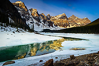Reflections of the Rockies at Moraine Lake in Winter, Panorama<br /> <br /> ©2008, Sean Phillips<br /> http://www.Sean-Phillips.com