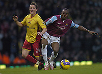 Photo: Olly Greenwood.<br />West Ham United v Watford. The Barclays Premiership. 10/02/2007. West Ham's Nigel Reo-Coker and Watford's Tommy Smith