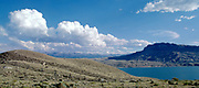 Panoramic of the Buffalo Bill Reservoir Lake, Cody, Wyoming
