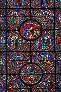 Medieval stained glass Window of the Gothic Cathedral of Chartres, France - dedicated to the Life of St Lubin . Central bottom panel shows A barrel of wine being transported to the Cathedral, below left - The young Lubin working as a shepherd, below right - A monk gives Lubin a belt with the alphabet written on it, above left - Lubin receiving instruction from a cleric, above right - Lubin spends his spare time learning to read, while his companion idles.  Top central panel -  A cellerer draws sacramental wine into a cruet, below left - Lubin is accepted into a monastery, below right - Nileffus advises Lubin to visit other monasteries to broaden his knowledge, above left - Lubin, Nileffus and another monk, approach a new monastery, above right - Lubin and his companions leaving a monastery. A UNESCO World Heritage Site. .<br /> <br /> Visit our MEDIEVAL ART PHOTO COLLECTIONS for more   photos  to download or buy as prints https://funkystock.photoshelter.com/gallery-collection/Medieval-Middle-Ages-Art-Artefacts-Antiquities-Pictures-Images-of/C0000YpKXiAHnG2k