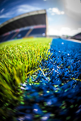 The Falkirk Stadium's new pitch used for the fist time for the Scottish Championship game v Hamilton. The woven GreenFields MX synthetic turf and the surface has been specifically designed for football with 50mm tufts compared with the longer 65mm which has been used for mixed football and rugby uses.  It is fully FFA two star compliant and conforms to rules laid out by the SPL and SFL.<br /> ©Michael Schofield.