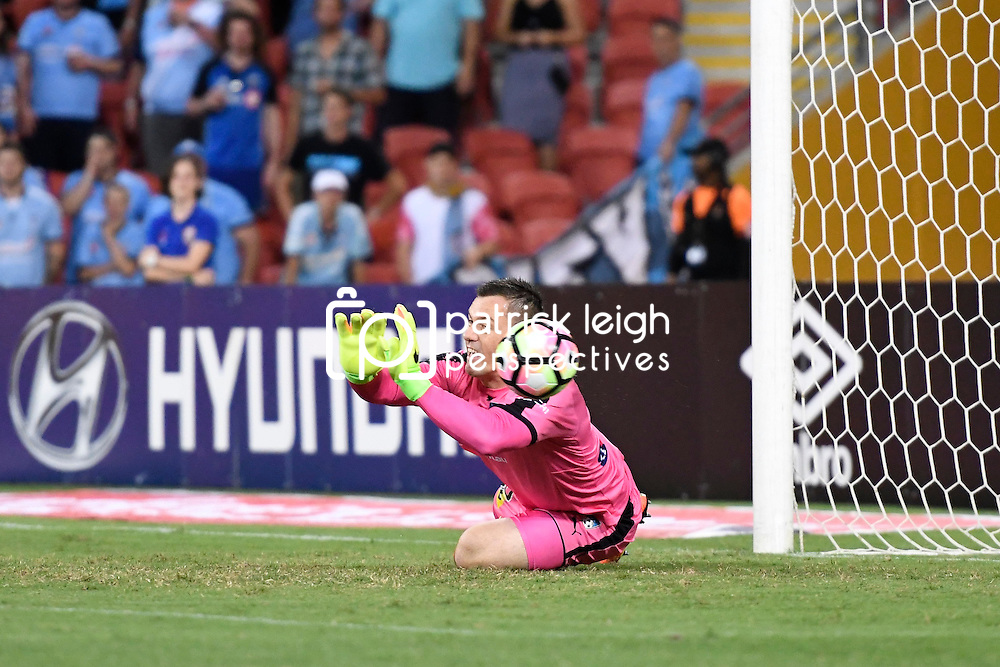 BRISBANE, AUSTRALIA - FEBRUARY 3: Danny Vukovic of Sydney saves a shot on goal during the round 18 Hyundai A-League match between the Brisbane Roar and Sydney FC at Suncorp Stadium on February 3, 2017 in Brisbane, Australia. (Photo by Patrick Kearney/Brisbane Roar)