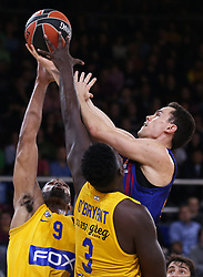 November 1, 2018 - Barcelona, Catalonia, Spain - Kevin Pangos, Alex Tyus and Johnny O'Bryand  during the match between FC Barcelona and Maccabi Tel Aviv, corresponding to the week 5 of the Euroleague, played at the Palau Blaugrana, on 01 November 2018, in Barcelona, Spain. (Credit Image: © Joan Valls/NurPhoto via ZUMA Press)