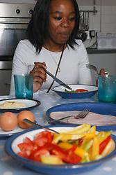 Black girl eating meal