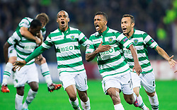 Nani of Sporting and Jefferson of Sporting celebrate after Nani scored first goal for Sporting during football match between NK Maribor and Sporting Lisbon (POR) in Group G of Group Stage of UEFA Champions League 2014/15, on September 17, 2014 in Stadium Ljudski vrt, Maribor, Slovenia. Photo by Vid Ponikvar  / Sportida.com