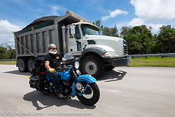John Bartman riding his 1940 Harley-Davidson ULH Flathead in the Cross Country Chase motorcycle endurance run from Sault Sainte Marie, MI to Key West, FL. (for vintage bikes from 1930-1948). Stage-9 covered 259 miles from Lakeland, FL to Miami, FL USA. Saturday, September 14, 2019. Photography ©2019 Michael Lichter.