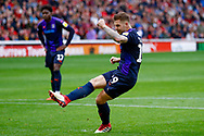 Luton Town forward James Collins (19) scores a goal from the penalty spot to make the score 2-1 during the EFL Sky Bet League 1 match between Barnsley and Luton Town at Oakwell, Barnsley, England on 13 October 2018.