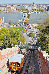 Buda hill funicular with chain bridge and cityscape in the background, Budapest, Hungary