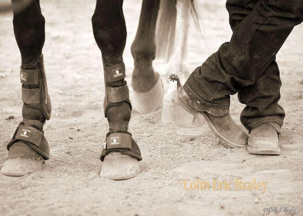"COWBOY RODEO-TOOLS OF THE COWBOY TRADE--A cowboy and his horse at the annual Ranch Hand Rodeo in Randolph, Utah, August 29, 2009. Workers from various ranches in the region battle for bragging rights in the event many call one of the few ""true cowboy"" experiences left in the west."