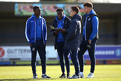 Marc Bola, Bernard Mensah, Tom Nichols and Tom Broadbent of Bristol Rovers arrive at The Cherry Red Records Stadium, for the game against AFC Wimbledon - Mandatory by-line: Robbie Stephenson/JMP - 17/02/2018 - FOOTBALL - Cherry Red Records Stadium - Kingston upon Thames, England - AFC Wimbledon v Bristol Rovers - Sky Bet League One