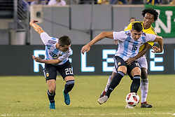 September 11, 2018 - East Rutherford, NJ, U.S. - EAST RUTHERFORD, NJ - SEPTEMBER 11: Argentina midfielder Rodrigo Battaglia (16)  controls the ball during the first half of the International Friendly Soccer match between Argentina and Colombia on September 11, 2018 at MetLife Stadium in East Rutherford, NJ. (Photo by John Jones/Icon Sportswire) (Credit Image: © John Jones/Icon SMI via ZUMA Press)