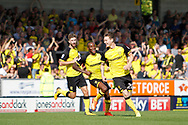 Burton Albion striker Joe Mason (20) scores a goal to make the score  within a minute of making his Burton Albion debut from Wolves on loan, score  1-1 and celebrates during the EFL Sky Bet Championship match between Burton Albion and Sheffield Wednesday at the Pirelli Stadium, Burton upon Trent, England on 26 August 2017. Photo by Richard Holmes.