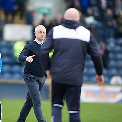 Raith Rovers Ray McKinnon and Falkirk's manager Peter Houston at the end.<br /> Raith Rovers 2 v 2 Falkirk, Scottish Championship game played 23/4/2016 at Stark's Park.