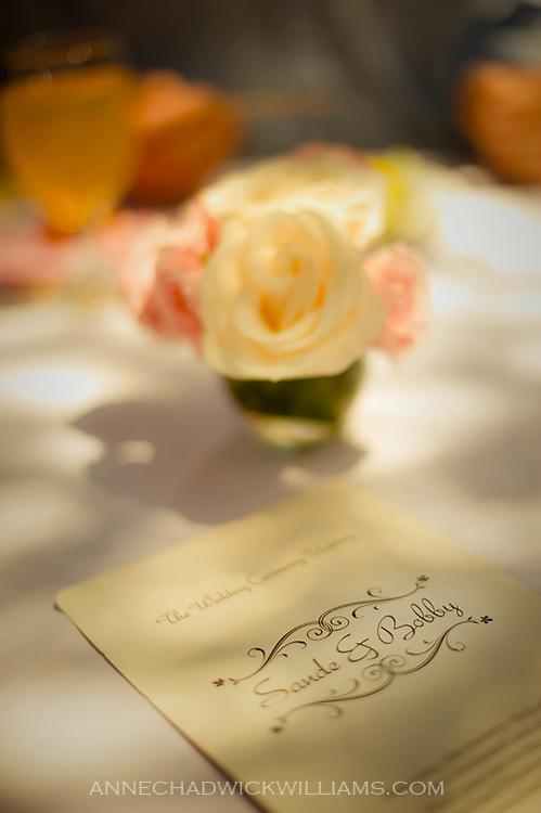 Wedding invitation and flowers at Carmichael Presbyterian Church, Carmichael, California.