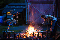 Grand opening dinner party for North Fork 53. North Fork 53 is an educational farm stay in the beautiful North Fork Nehalem River valley along the Oregon coast. This event for over 200 people included an Argentinian style roast of a lamb and 1/2 a cow over open fire that took 2 days to fully cook.