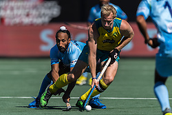(L-R) Sardar Singh of India, Aran Zalewski of Australia during the Champions Trophy finale between the Australia and India on the fields of BH&BC Breda on Juli 1, 2018 in Breda, the Netherlands.