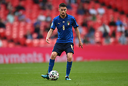 LONDON, ENGLAND - JUNE 26: Jorginho of Italy passes the ball during the UEFA Euro 2020 Championship Round of 16 match between Italy and Austria at Wembley Stadium at Wembley Stadium on June 26, 2021 in London, England. (Photo by Shaun Botterill - UEFA)