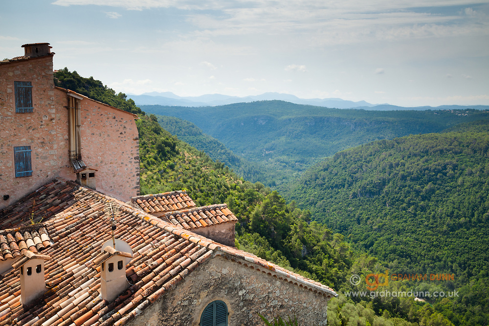 The Siagne Valley as seen from the 'Place du 8 Mai 1945', Saint Cezaire sur Siagne, Provence, South of France, Europe.