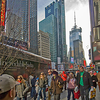 Crowds mingle in New York City's Times Square.