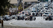 Dimas Diaz Jr., 43, of Santa Barbara is shot by law enforcement officers following a pursuit and standoff on Highway 101 at the Las Virgenes Road exit in Calabasas on Jan. 12 2019.