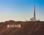 Looking across to the iconic Hollywood sign from the Griffith Park Observatory in the Hollywood Hills above Los Angeles