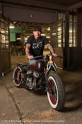 Freddie Bollwage with his 1947 Harley-Davidson Sons of Speed Flathead racer at the Congregation Show. Charlotte, NC. USA. Saturday April 14, 2018. Photography ©2018 Michael Lichter.