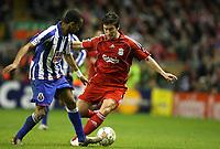 Photo: Paul Greenwood/Sportsbeat Images.<br />Liverpool v Porto. UEFA Champions League. 28/11/2007.<br />Porto's Bosingwa, (L) challenges Liverpool's Harry Kewell