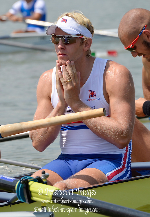 Chungju, South Korea.  GBR M8+ lane 3  move away from the start, on the second day of the 2013 FISA World Rowing Championships, Tangeum Lake International Regatta Course. 03:38:05  Monday  26/08/2013 [Mandatory Credit. Peter Spurrier/Intersport Images]<br /> <br /> Andy TRIGGS HODGE