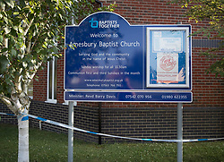 © Licensed to London News Pictures. 04/07/2018. Amesbury, UK. Police cordon tape surrounds a sign at Amesbury Baptist Church where it is thought Dawn Sturgess, 44, and her partner Charlie Rowley, 45, may have visited before they were taken ill on Saturday 30th June 2018. Police have confirmed that the couple have been in contact with Novichok nerve agent. Former Russian spy Sergei Skripal and his daughter Yulia were poisoned with Novichok nerve agent in nearby Salisbury in March 2018. Photo credit: Peter Macdiarmid/LNP