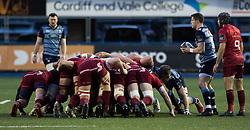 Cardiff Blues' Lloyd Williams waits to put in at the scrum<br /> <br /> Photographer Simon King/Replay Images<br /> <br /> Guinness PRO14 Round 15 - Cardiff Blues v Munster - Saturday 17th February 2018 - Cardiff Arms Park - Cardiff<br /> <br /> World Copyright © Replay Images . All rights reserved. info@replayimages.co.uk - http://replayimages.co.uk