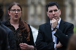 London, UK. 1st May, 2019. Richard Burgon MP, Shadow Justice Secretary, and Laura Pidcock MP, Shadow Business Minister, joins climate protesters attending a Declare A Climate Emergency Now demonstration in Parliament Square organised to coincide with a motion in the House of Commons to declare an environment and climate emergency tabled by Leader of the Opposition Jeremy Corbyn. The motion, which does not legally compel the Government to act, was passed without a vote.