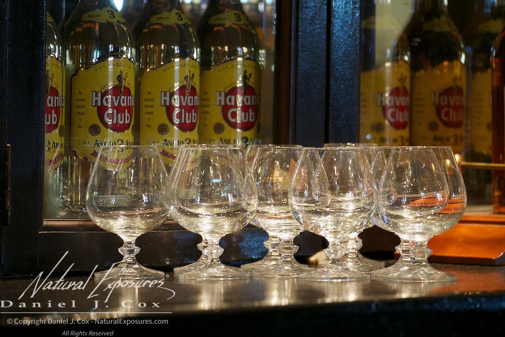 Rum snifters at the Havana Club outlet in Havana, Cuba.