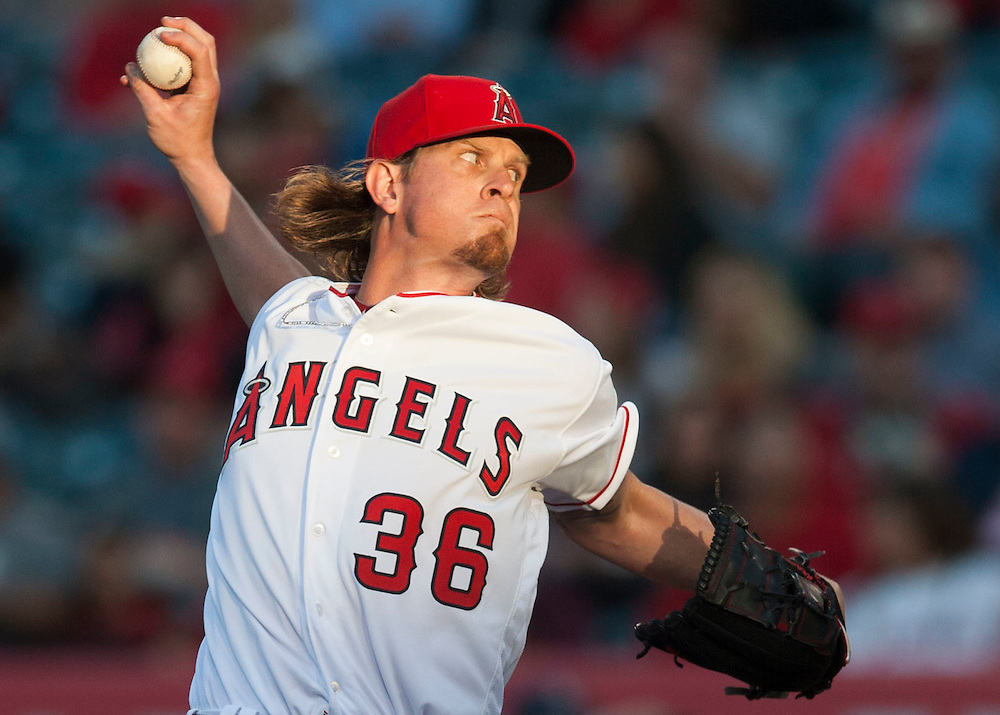 The Angels' Jered Weaver pitches against the Minnesota Twins Monday at Angel Stadium. <br /> <br /> ///ADDITIONAL INFO:   <br /> <br /> angels.0614.kjs  ---  Photo by KEVIN SULLIVAN / Orange County Register  -- 6/13/16<br /> <br /> The Los Angeles Angels take on the Minnesota Twins Monday at Angel Stadium.