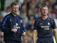 Photo: Andi Thompson.<br />Everton v Manchester City. The Barclays Premiership. 30/09/2006.<br />Manchester City manager Stuart Pearce (R) and Everton Manager David Moyes (L).