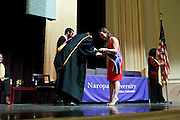SHOT 5/10/15 3:14:56 PM - Naropa University Spring 2015 Commencement ceremonies at Macky Auditorium in Boulder, Co. Sunday. Parker J. Palmer, a world-renowned author and activist known for his work in education and social change, delivered the commencement speech to more than 300 graduate and undergraduate students along with Naropa faculty and graduate's family members. Naropa University is a private liberal arts college in Boulder, Colorado founded in 1974 by Tibetan Buddhist teacher and Oxford University scholar Chögyam Trungpa. (Photo by Marc Piscotty / © 2014)