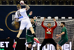 Julius Kuehn of Germany during handball match between National Teams of Algeria and Germany at Day 3 of IHF Men's Tokyo Olympic  Qualification tournament, on March 14, 2021 in Max-Schmeling-Halle, Berlin, Germany. Photo by Vid Ponikvar / Sportida