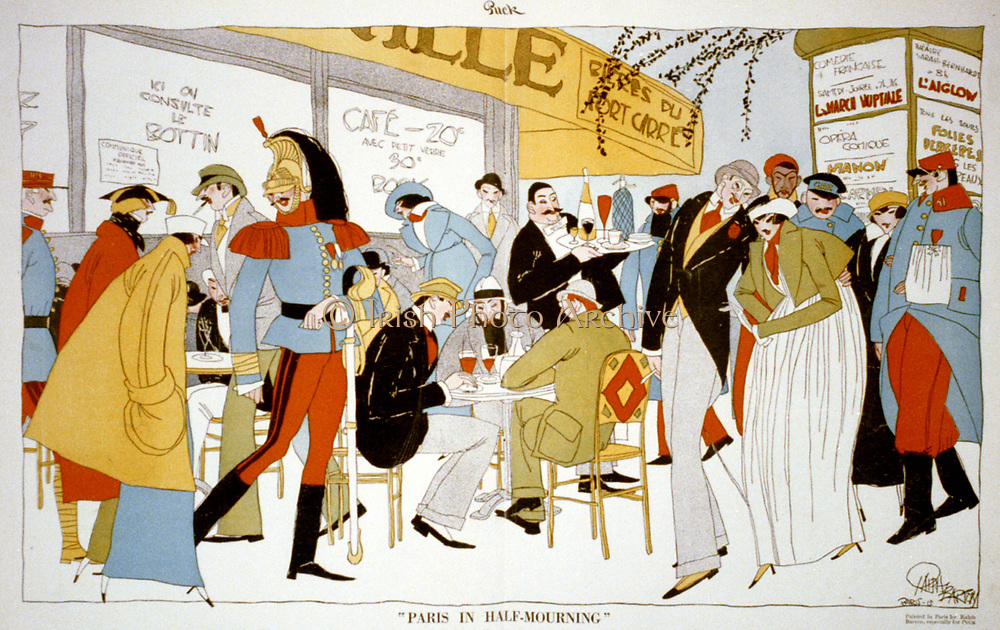 World War I 1914-1918: 'Paris in Half-Mourning'. Satirical cartoon by Ralph Barton (1891-1931) for 'Puck', New York, 6 November 1915. Soldiers in smart uniforms and fashionably dressed Parisians at a pavement cafe.