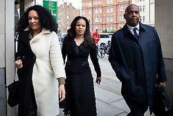 © Licensed to London News Pictures. 16/03/2021. London, UK. MP Claudia Webbe(Centre) arrives at Westminster Magistrates Court .She is charged with one count of harassment and the trial is expected to last for one day.  Photo credit: George Cracknell Wright/LNP