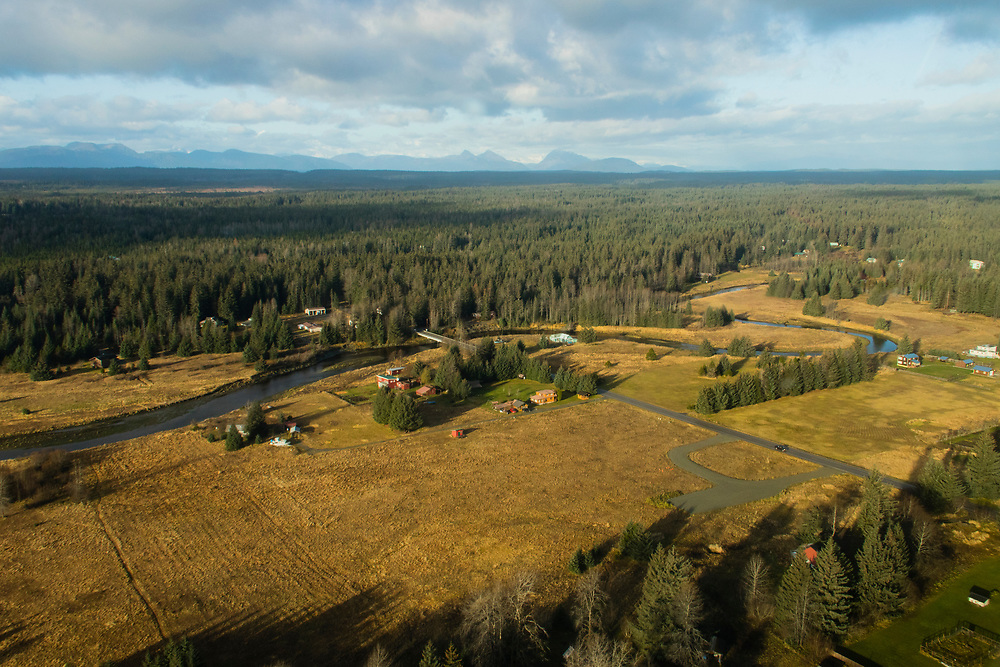 An aerial shot of the Salmon River and the future site of the Gustavus Community Center in Gustavus, Alaska.