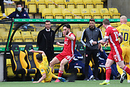 Aberdeen's Connor McLennan (18) and Aberdeen Manager Stephen Glass during the Scottish Premiership match between Livingston and Aberdeen at Tony Macaroni Arena, Livingstone, Scotland on 1 May 2021.