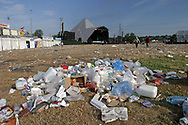Mandatory Credit: Photo by STEVE MEDDLE / Rex Features<br /> Litter around the main stage after the Event<br /> GLASTONBURY FESTIVAL DAY 3, BRITAIN - 29 JUN 2003<br /> <br /> REFUSE WASTE RUBBISH PYRAMID STAGE
