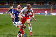 Poland's Hubert Turski goes down in the box looking for a penalty during the U17 European Championships match between Scotland and Poland at Firhill Stadium, Maryhill, Scotland on 26 March 2019.