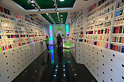 Interior of shop selling mobile phone cases, Valencia, Spain