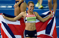 Great Britain's Jessica Ennis celebrates after winning the women's heptathlon of the 2009 IAAF Athletics World Championships on August 16, 2009 in Berlin, Germany. (Photo by Vid Ponikvar / Sportida)
