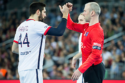 Nikola Karabatic #44 and Thierry Omayer #16 of Paris Sant-Germain during handball match between PPD Zagreb (CRO) and Paris Saint-Germain (FRA) in 11th Round of Group Phase of EHF Champions League 2015/16, on February 10, 2016 in Arena Zagreb, Zagreb, Croatia. Photo by Urban Urbanc / Sportida
